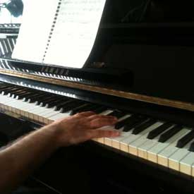 Jed's hand on the keys